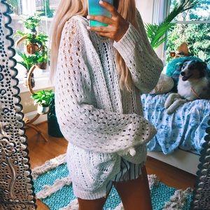 white babydoll angelic open knit autumn sweater